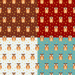Four colorful owl seamless pattern