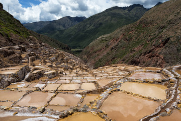 View of the Maras Salt Mines near the village of Maras, Sacred Valley, Peru