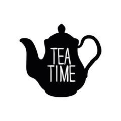 Teapot. Tea time. Black pattern on white background.