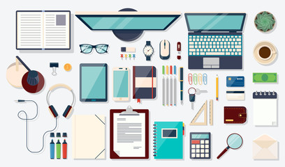 Top view elements. Desk background with laptop, digital devices, office objects, books and documents