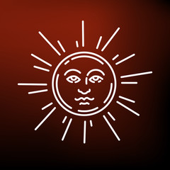 Sun face icon. Sun face sign. Sun face symbol. Thin line icon on red background. Vector illustration.