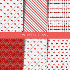Основные RG6 Heart shape vector seamless patterns (tiling). Endless texture can be used for printing onto fabric and paper or scrap booking. Valentines day background for invitation.