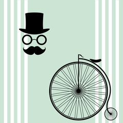 retro bike, mustache, glasses, and a cylinder on a green background, illustration