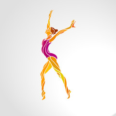 Creative silhouette of gymnastic girl. Art gymnastics dancing woman, vector illustration