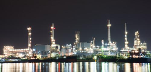Oil refinery at night, Bangkok, Thailand