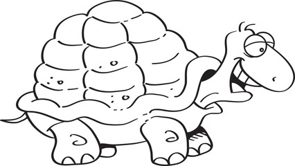 Black and white illustration of a happy turtle.