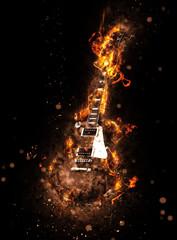 Modern guitar consumed in flames