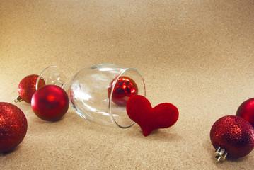 wine glass, glitter ball, red heart