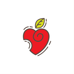 Apple love vector logo