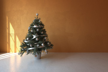 Decorated Christmas tree in a bare room interior