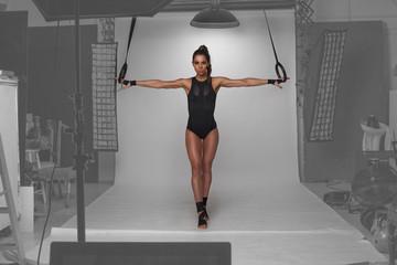 fitness model posing in the studio