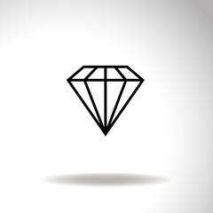 Diamond icon, vector illustration.