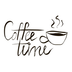 Coffee Time Lettering Illustration with a Cup of Coffee