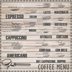 Coffee menu on wood