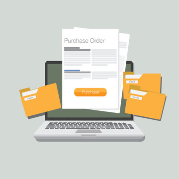 purchase order flat design vector