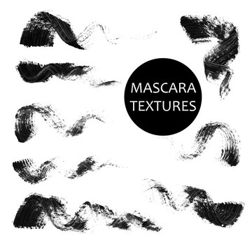 Set of 8 artistic mascara black strokes