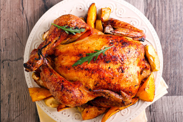 Roasted citrus chicken on plate