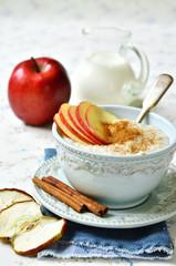 Oat porridge with apple,honey and cinnamon.