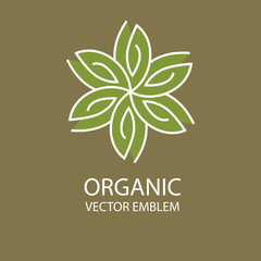 Vector abstract organic emblem, outline monogram, flower symbol