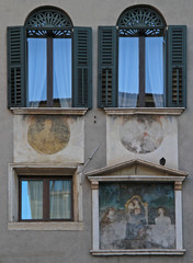 frescos on wall, the building in Verona