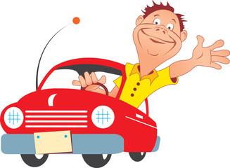 Happy man driving a new car