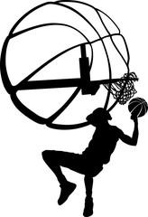 basketball behind head dunk silhouette