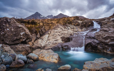 Wall Mural - The Scottish highlands on a cloudy day at river Sligachan - Isle of Skye, Scotland, UK