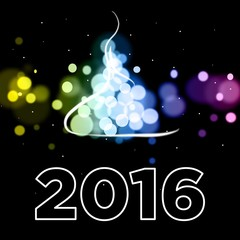 2016 Suspended Letters Happy New Year Card