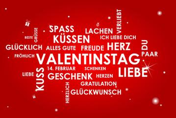 Karte Wörter Valentinstag