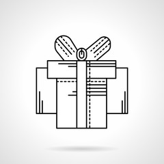 Box with ribbon bow black flat line vector icon