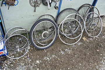 Old bicycle wheels