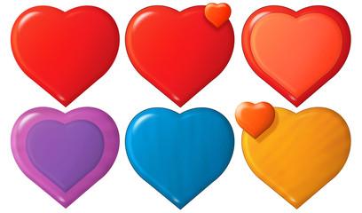 Cartoon hearts set - illustration for the children