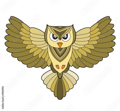 Flying Owl Vector Isolated On White Civetta Con Ali Aperte