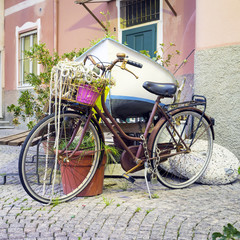 Old decorated bike. Color image