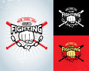 Fighting t shirt design, logotype, boxing monochrome vector label , badge , logo for hipster flyer, poster or t-shirt print with fist, broken chain, baseball-bat and text.