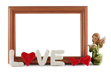 Wooden frame / Congratulations Valentines day on a blue background, to insert a photo or inscriptions.