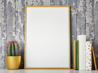Golden mock up frame, hipster background, 3d rendering