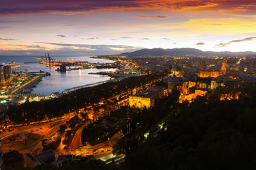Malaga with Port from castle in evening
