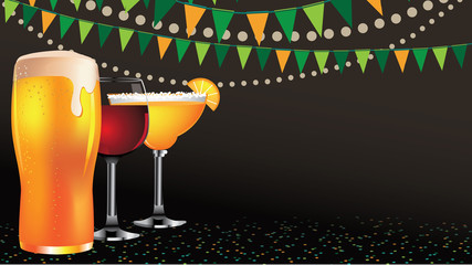 Happy hour drinks widescreen background EPS 10 royalty free stock illustration