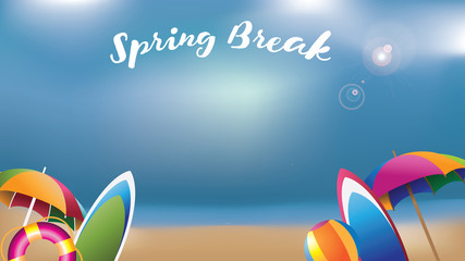 Spring break umbrellas, surfboards and inner tube widescreen background. EPS 10 vector illustration.