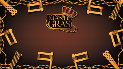Golden beads frame Mardi Gras wide background stock illustration. EPS 10 vector