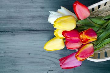 Obraz bukiet tulipanów na ciemnych drewnianych deskach - fototapety do salonu