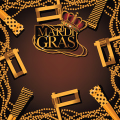 Golden Mardi Gras party favor, noisemaker and beads background. EPS 10 vector