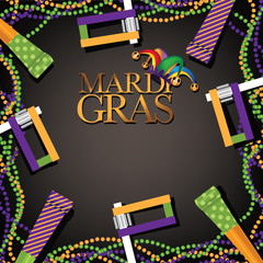 Mardi Gras party favor, noisemaker and beads background. EPS 10 vector