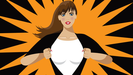 Super hero woman tears open her shirt to reveal super insignia or message in copy space.