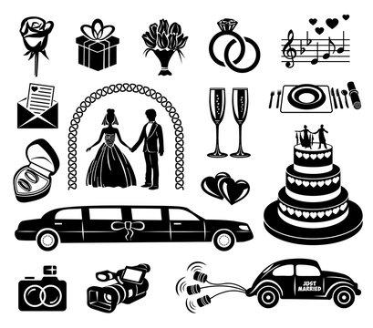 Wedding black simple icons set