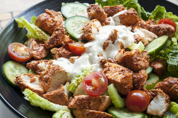 Tandoori Chicken Salad Overhead View