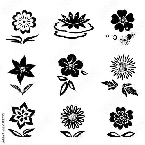 Flower Icon Set Black Cutout Silhouettes On White Background