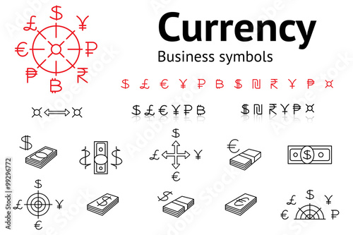 Dollar Euro Pound Yen Ruble Rupee Shexel Peso Bitcoin