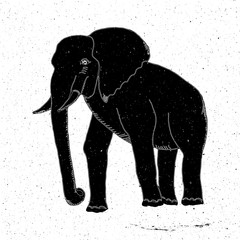 Hand-drawn elephant in grunge style